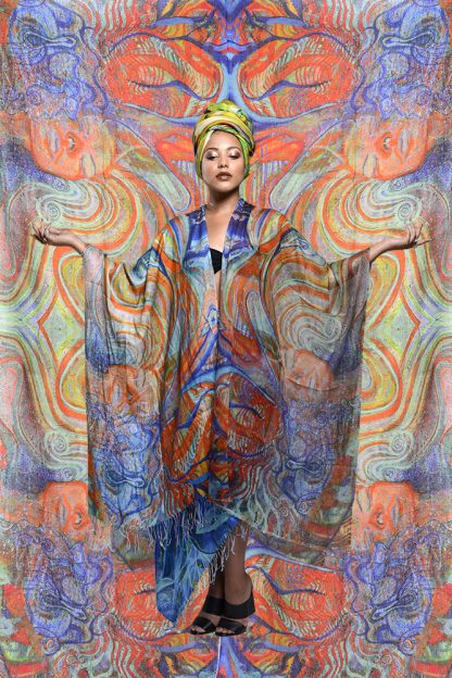 The Celebration Kaftan by Disorder a unique handcrafted with a sheer cotton, printed with the original oil painting 'Celebration' by Disorder.