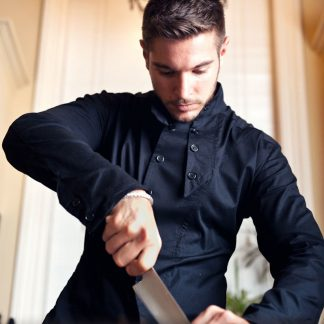 Disorder Black Slant Shirt, sustainably and ethically handmade and lovingly hand crafted by our skilled tailors, in our Birmingham UK studio.