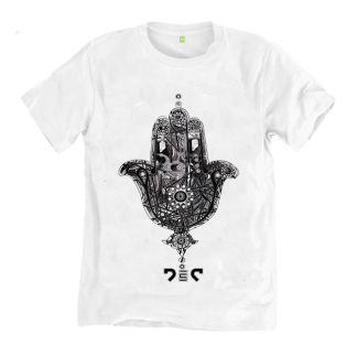 The Hand of Fatima T-Shirt by Disorder is a sustainably hand made garment in the UK. The inspiration is from the Hand of Fatima symbol.