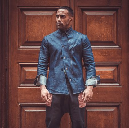 Disorder denim slant shirt is designed and hand crafted in studio in Birmingham, UK