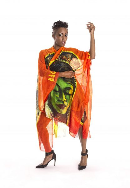 The Burmese Sunset Kaftan by Disorder is a unique hand crafted garment, printed with the original oil painting 'Burmese Sunset' by Disorder.