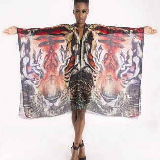 Burmese Tiger Kaftan by Disorder is unique and hand crafted, using is a sheer cotton fabric, printed with the painting 'Burmese Tiger'.