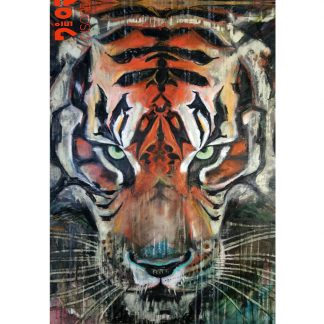 The Burmese Tiger Cotton Scarf by Disorder is a limited edition print of the original oil painting 'Burmese Tiger' by Disorder artist Mark Howard.