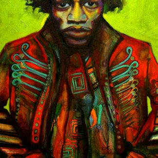 Jimi Hendrix Scarf by Disorder, is printed from an original oil painting of Jimi Hendrix by Disorder artist Mark Howard.
