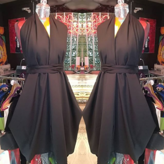 Disorder Black Halter Neck Dress. This slow fashion, unique, one-off halter-neck dress is tailormade by Disorder, in our UK based studio.
