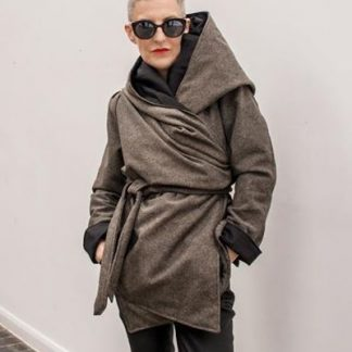 The Tweed Kimono Wrap Coat by Disorder, is reversible and can be worn in a number of different styles, in our UK based studio