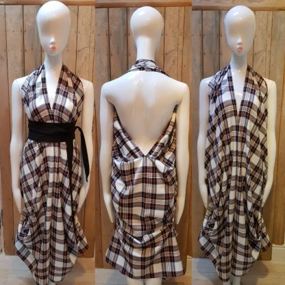 Black/White Tartan Halterneck Dress with Obi Belt by Disorder, can be worn in 4 distinctly different styles, it is handmade in UK by Disorder