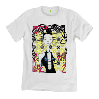 Arcadian T shirt by Disorder is a slow fashion, organic cotton tshirt. An original oil painting by Disorder inspired by Japanese Manga.