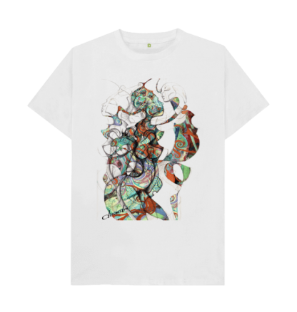 The Disorder Spiral T-Shirt is a limited edition hand printed, white organic cotton, sustainable t-shirt. The image is inspired by our love of sixties psychedelia,