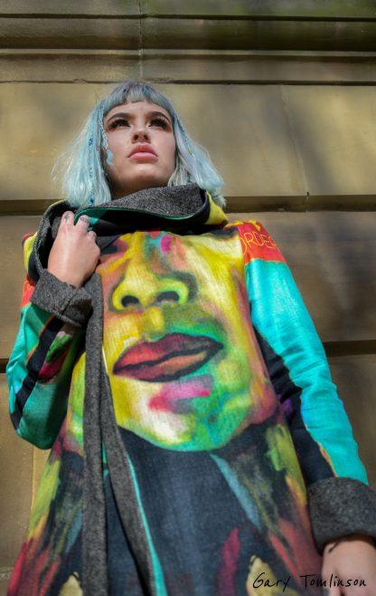 Thiri reversible hooded kimono wrap coat by Disorder.