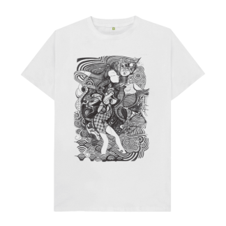 Disorder Spiral Sketch T-Shirt is a sustainably made t-shirt, inspired by sixties psychedelia and psychedelic artwork, handmade by Disorder in the UK.