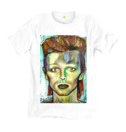 David Bowie T shirt, a print of an oil painting by Disorder. Bowie is a huge style and cultural inspiration for Disorder. Sustainable T shirt