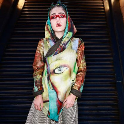 Bowie Hooded Kimono Jacket is reversible handcrafted by Disorder. sustainably cotton, printed with Disorder own original artwork, 'Bowie '