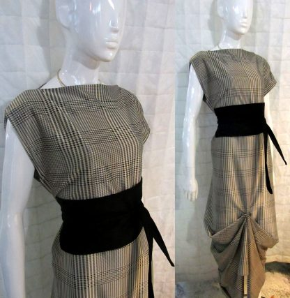 The Disorder Prince of Wales Check Zen Dress with Obi Belt is a unique, slow fashion dress, hand crafted to order in our UK studio by Disorder