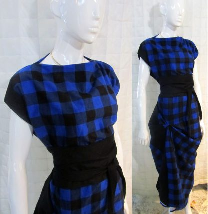 The Disorder Black/Blue Check Zen Dress with Obi Belt is a unique, slow fashion dress, hand tailored to order in our UK studio by Disorder