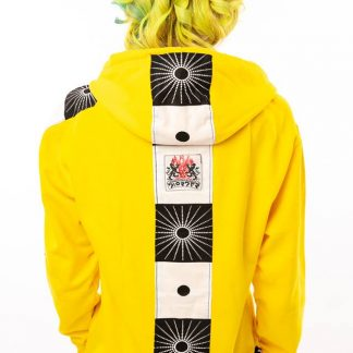 Disorder Acid Yellow Zen Hoodie, is a one-off slow fashion, sustainable garment, it features bold Japanese inspired fabric designs from Bali.