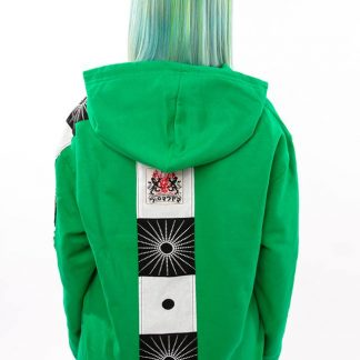 Acid Green Zen Hoodie by Disorder is a one-off slow fashion, sustainable garment, it features bold Japanese inspired fabric designs from Bali