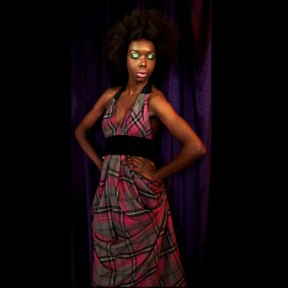 Disorder Pink Tartan Halterneck Dress with Obi Belt, it can be worn in 4 distinctly different styles. Handmade in England, UK by Disorder