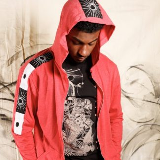 The Coral Red Zen Hoodie is a one-off handcraftedslow fashion, sustainablegarment by Disorder's skilled tailors in our Birmingham, UK studio