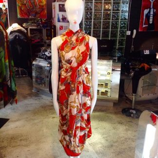 The Red/Orange Halter Neck Dress by Disorder is very versatile and can be worn in 4 distinctly different styles, handcrafted by Disorder.