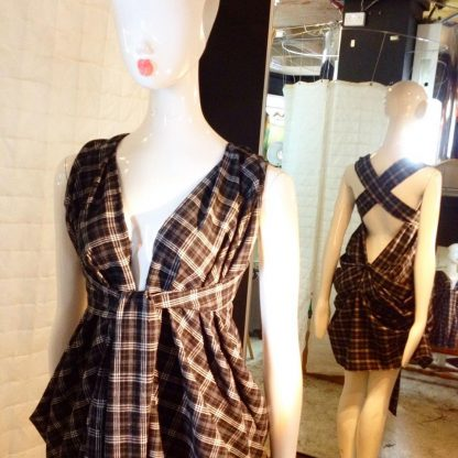 Black/White Cotton Tartan Halter Neck Dress by Disorder is very versatile, can be worn in 4 distinctly different styles, handmade in England