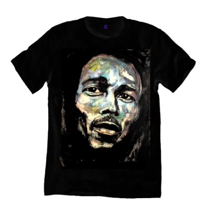 Bob Marley t shirt is printed from an original painting by Disorder