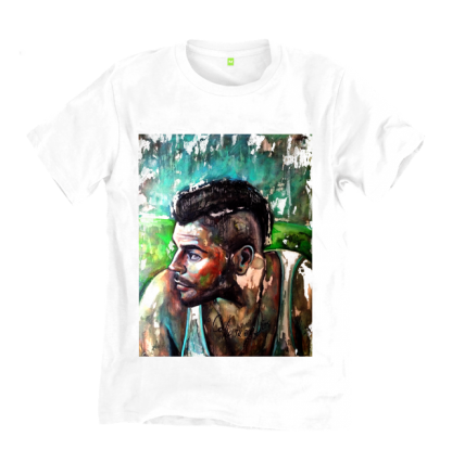 Salvatore Esposito in Gomorrah T-Shirt by Disorder, an original painting, endorsed by Salvatore Esposito himself. Handmade by Disorder in UK