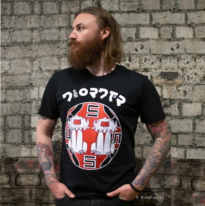 Chindit Temple Guardian Black T-Shirt by Disorder. Inspired by Yangon, Myanmar and the Chindith mythical lion. Hand made by Disorder in UK.