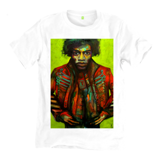 The Jimi Hendrix White T-Shirt is a unique artisan product handmade by Disorder. The t-shirt is made from organic cotton and is printed with non-toxic inks.