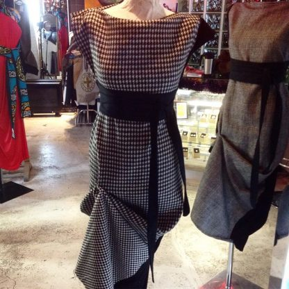 The Disorder Dogtooth Zen Dress with Obi Belt is a unique, slow fashion dress. Hand crafted to order in our UK studio by Disorder.