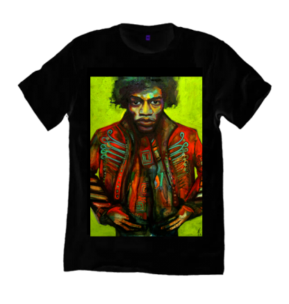 Jimi Hendrix Black T-Shirt a print of original painting by Disorder, on organic cotton, sustainably handmade by Disorder in the UK