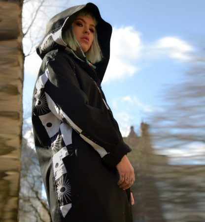 Women's Hooded Samurai Jacket is handcrafted from black cotton and contrasted with ethical sourced batik cotton fabric by Disorder in the UK