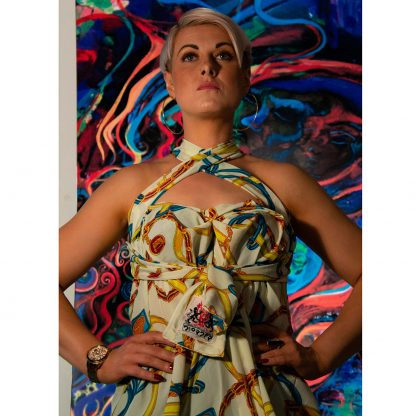 4 in 1 Yellow/White Halter Neck Dress by Disorder, is very versatile and can be worn in 4 distinctly different styles.Handmade in UK