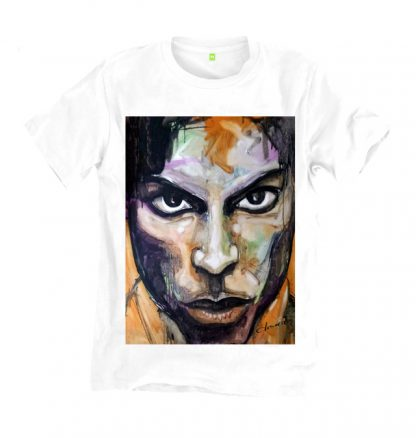 Prince white t shirt is from an original painting of the icon Prince. Printed on a sustainable, organic cotton t shirt, made in UK by Disorder