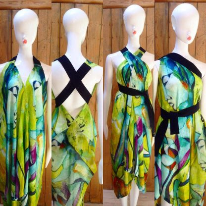 Android Halter Neck dress by Disorder. This dress is very versatile and can be worn in 4 distinctly different styles, its handcrafted in UK.