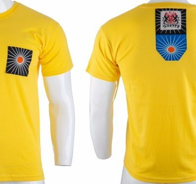 Bali by Disorder yellow Zen t shirt with blue patch. This t shirt is sustainably handmade by Disorder in our Birmingham Studio.