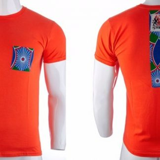 Bali by Disorder orange-red Zen t shirt with blue patch. This t shirt is sustainably handmade by Disorder in our Birmingham Studio.