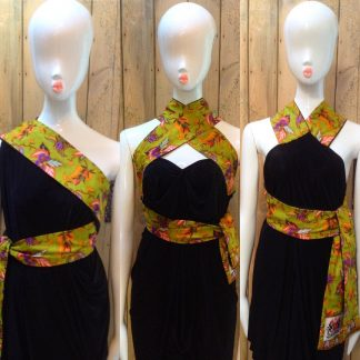 Disorder Lime Green Batik Halter Neck Dress is very versatile and can be worn in 4 distinctly different styles. Hand made in UK by Disorder.