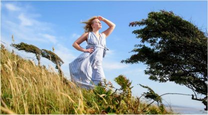 Blue/White Stripe Halter Neck Dress by Disorder is very versatile, it can be worn in 4 distinctly different ways. Handmade in UK by Disorder