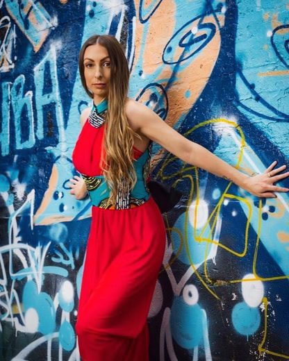 Red/Turquoise Halter Neck Dress by Disorder is very versatile and can be worn in 4 distinctly different styles.Handmade By Disorder in UK