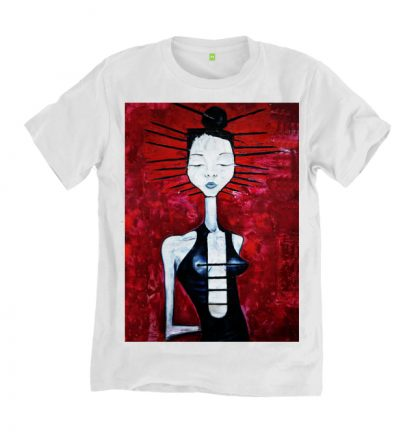 The Arcadian Painting White T-Shirt is a hand printed, slow fashion, organic cotton. It is from an original oil painting by Disorder.
