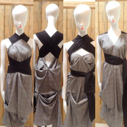 Disorder Prince of Wales Check Dress is very versatile, can be worn in 4 distinctly different styles.Handcrafted in England by Disorder.