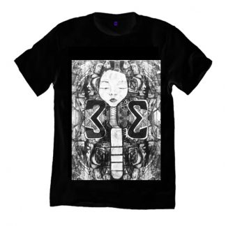 Disorder Padaung Long Neck Woman Black T-Shirt, sustainably made t shirt. An original painting by Disorder. Handmade in the UK by Disorder.