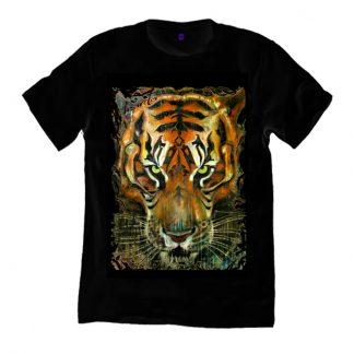 Burmese tiger painting black t shirt