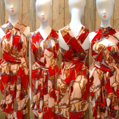Cream/Orange Halter Neck Dress by Disorder is very versatile it can be worn in 4 distinctly different ways its handmade by Disorder in England