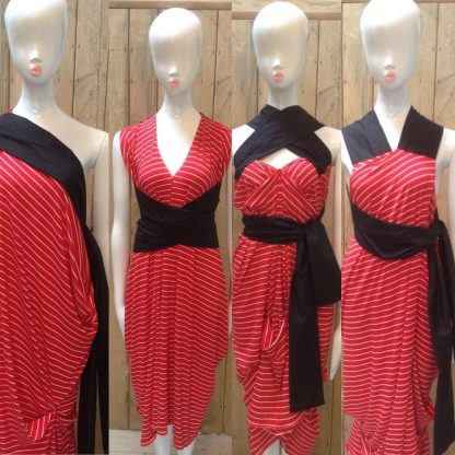 The Red/White Stripe Halterneck Dress by Disorder is very versatile and can be worn in 4 distinctly different styles. Its handmade in England.