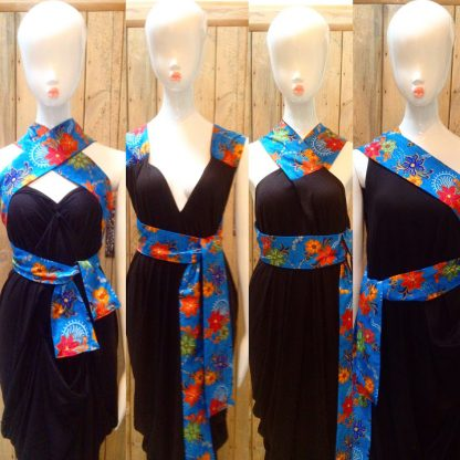 Blue Batik Halterneck Dress by Disorder is very versatile and can be worn in 4 distinctly different styles its handmade in the UK by Disorder.