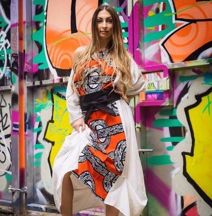 Disorder white zen dress with red batik fabric