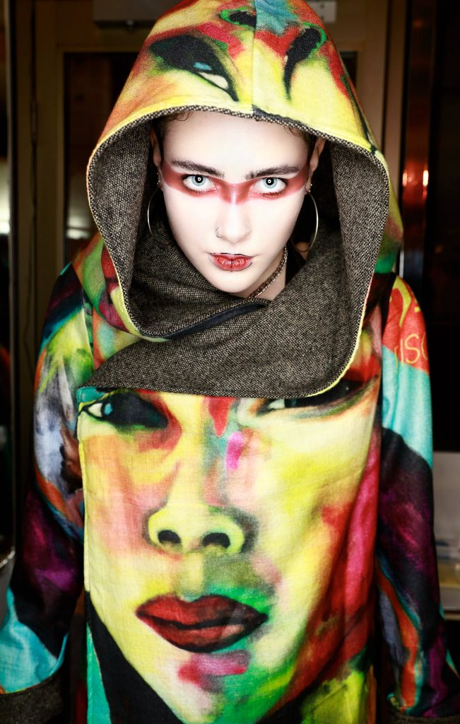 Disorder, Art Meet Fashion. Slow fashion reversible hooded jacket, bamboo printed with Disorder original Artwork. Made and Designed in UK.