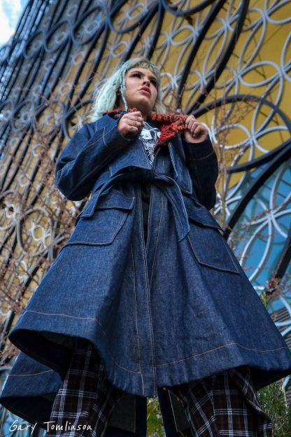 Disorder long collar coat in denim, is a slow fashion, ethically made garment.